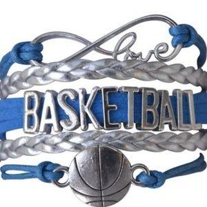 Girls Basketball Bracelet - Blue & Silver